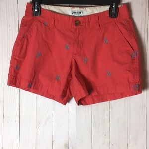 Old Navy Coral Shorts with Anchors Size 0